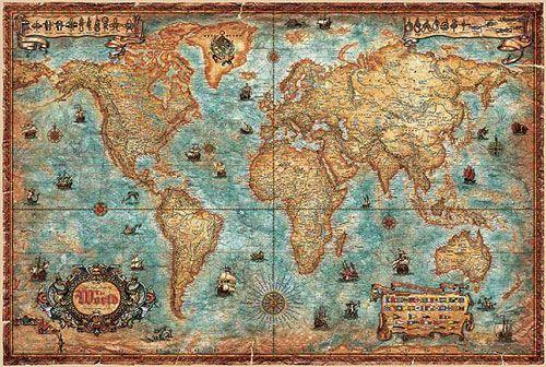MODERN WORLD ANTIQUE MAP 136 CM X 92 CM