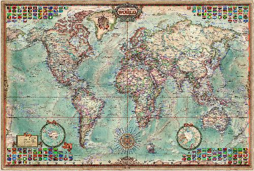 WORLD EXECUTIVE MAP 136 CM X 92 CM