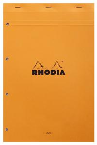 BLOC N 20 RHODIA ORANGE A4+ PERF. 4 T 80 F LIGNE + MARGE - 119600C