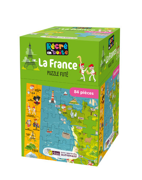 RECRE EN'BOITE PUZZLE FUTE LA FRANCE 84 PIECES DES 5 ANS
