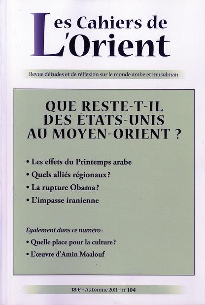 CAHIERS DE L'ORIENT N104