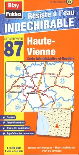 HAUTE-VIENNE (87) CARTE ADMINISTRATIVE ET ROUTIERE