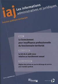 INFORMATION ADMINISTRATIVES ET JURIDIQUES N 09/2012 + RECUEIL - DES REFERENCES DOCUMENTAIRE 1ER SEME