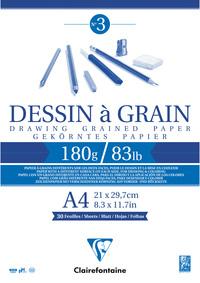 BLOC DESSIN A GRAIN ENCOLLE A4 30F 180G - 96624C