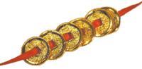 6 MONNAIES FENG-SHUI - DOREES OR FIN.