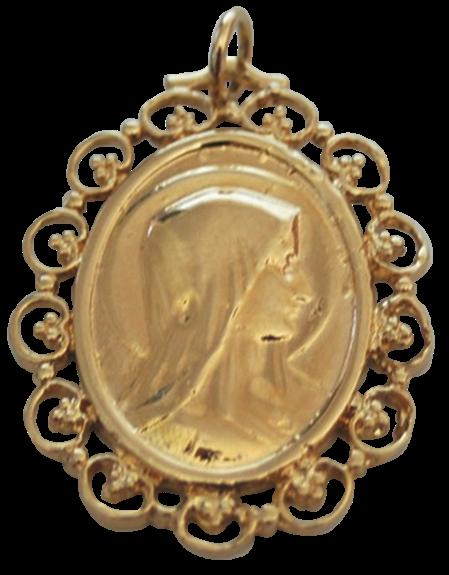 MEDAILLE OR - OVALE - VIERGE