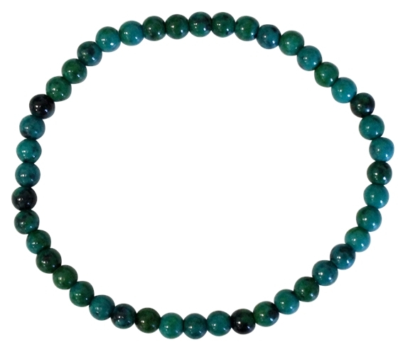 BRACELET CHRYSOCOLLE CHAUFFEE PERLES RONDES 4 MM