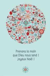 LOT DE 10 - CARTE DOUBLE PRENONS LA MAIN QUE DIEU NOUS TEND !