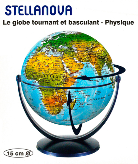 GLOBE 15 CM PHYSIQUE TOURNANT & BASCULANT