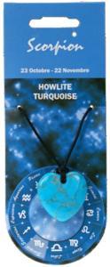 PENDENTIF COEUR ZODIAC - SCORPION - HOWLITE TURQUOISE