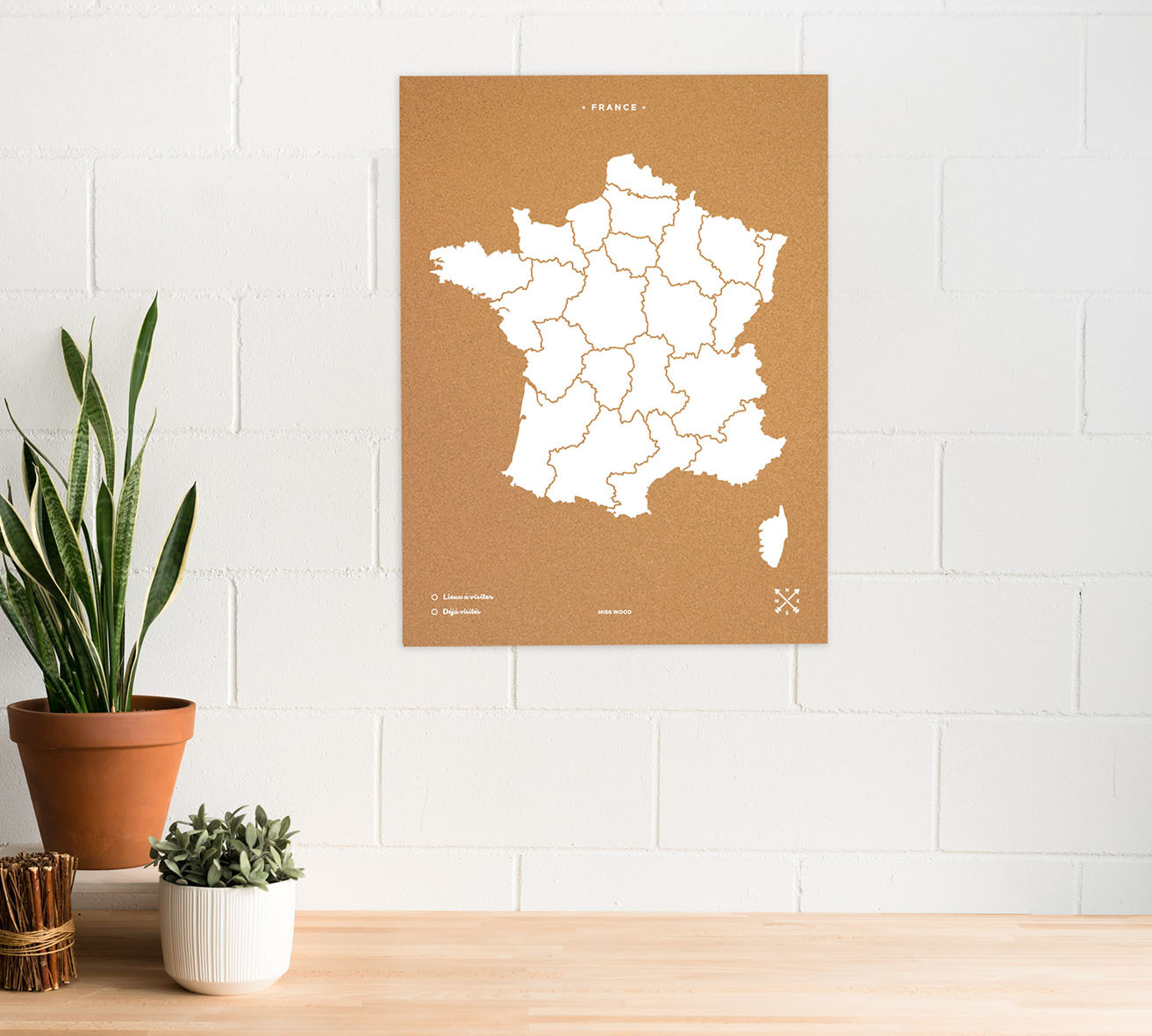 WOODY MAP XL - FRANCE BLANC 90 CM X 60 CM
