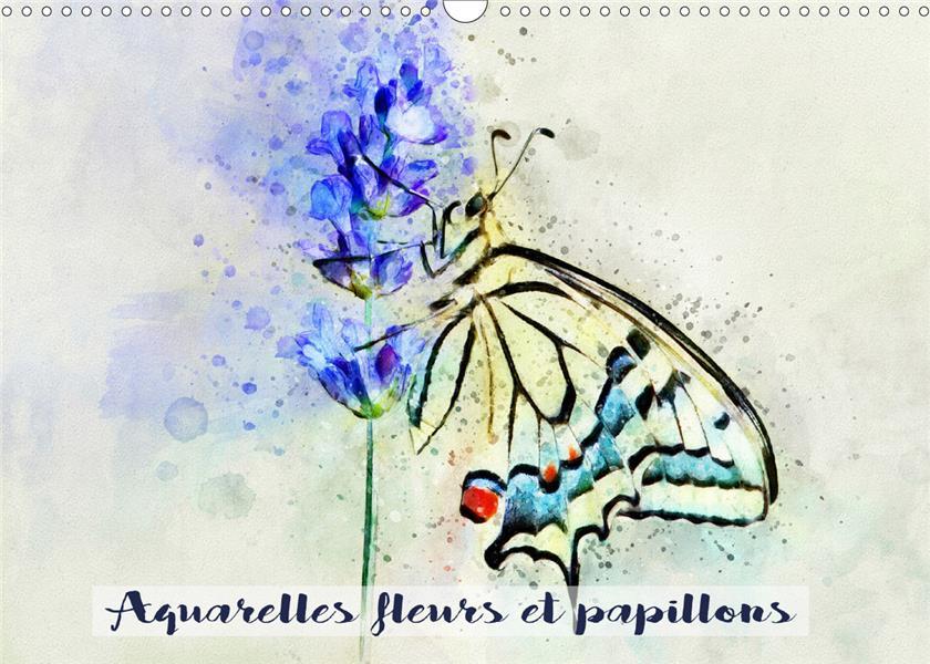 AQUARELLES FLEURS ET PAPILLONS (CALENDRIER MURAL 2020 DIN A3 HORIZONTAL) - SERIE DE 12 TABLEAUX, CRE