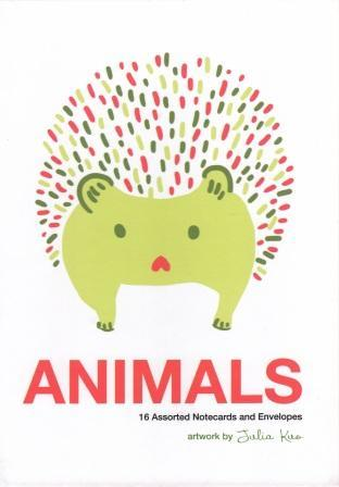 ANIMALS NOTE CARDS ARTWORK BY JULIA KUO: 16 ASSORTED NOTECARDS AND ENVELOPES /ANGLAIS