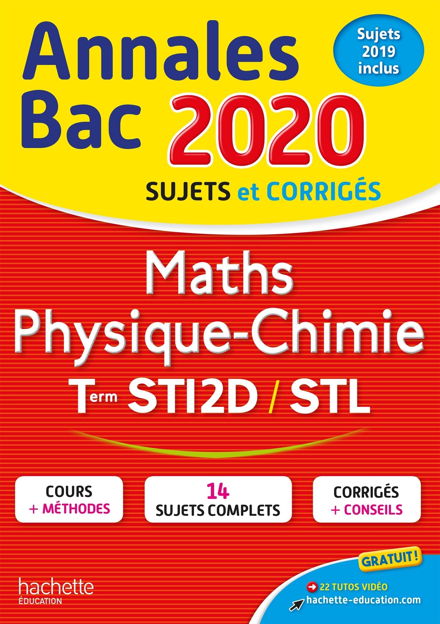 ANNALES BAC 2020 MATHS PHYSIQUE-CHIMIE TLES STI2D-STL