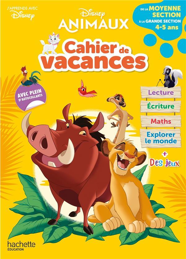 Disney animaux - de la moyenne a la grande section - cahier de vacances 2021