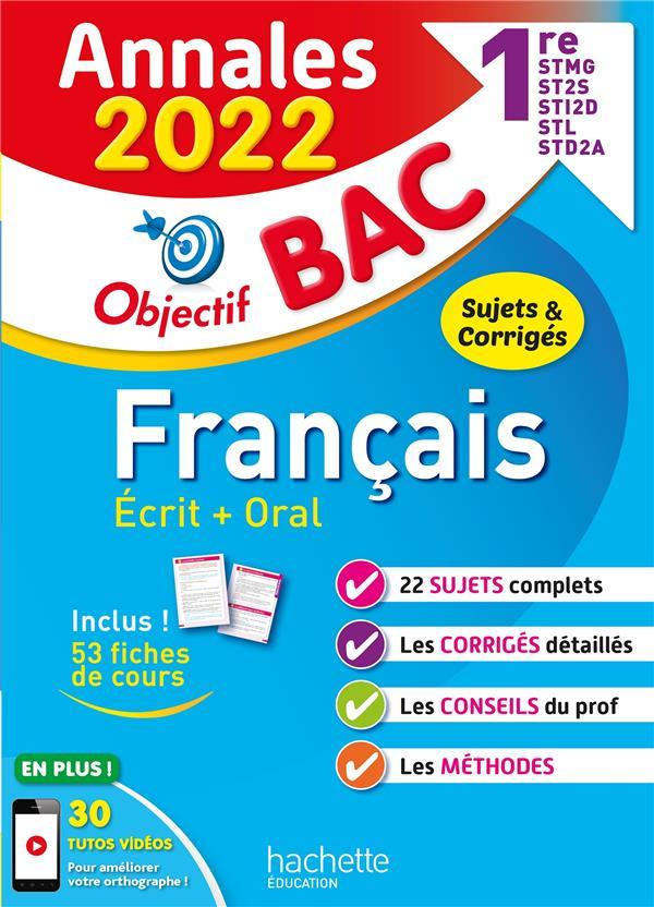 Annales bac 2022 - francais 1res stmg - sti2d - st2s - stl - std2a - sthr