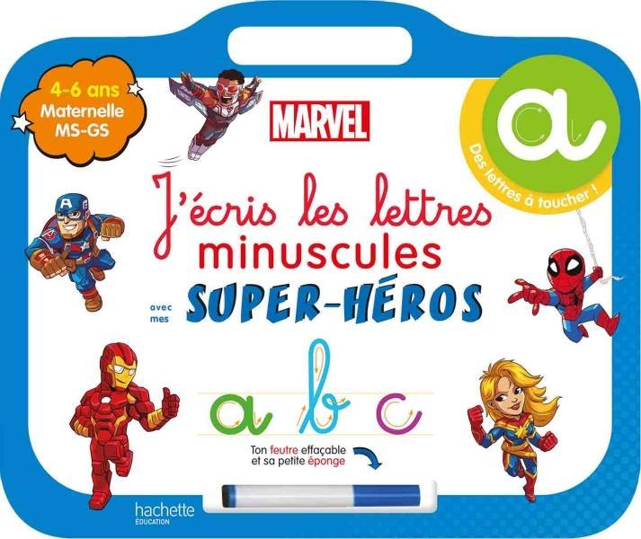 Disney - mes super-heros marvel - ardoise j'ecris les lettres minuscules  (4-6 ans)