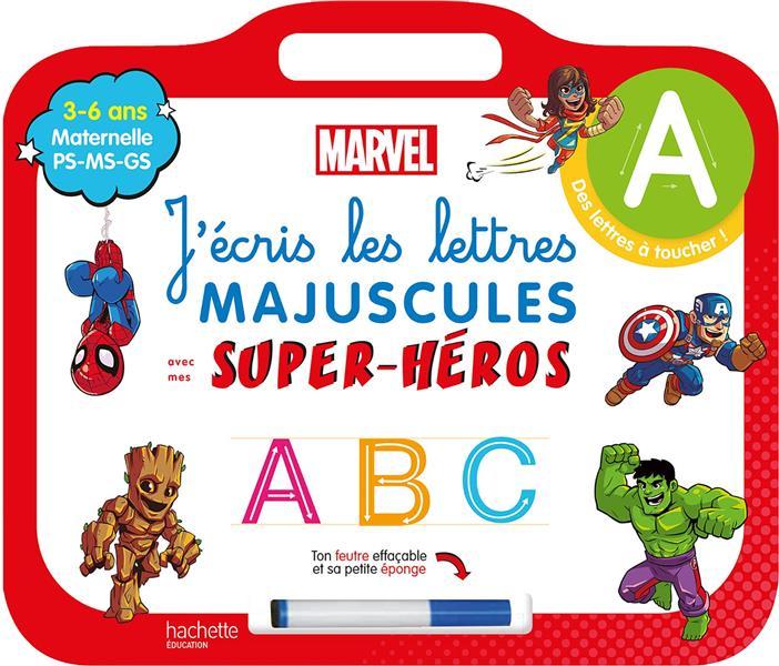 Disney - mes super-heros marvel - ardoise j'ecris les lettres majuscules  (3-6 ans)