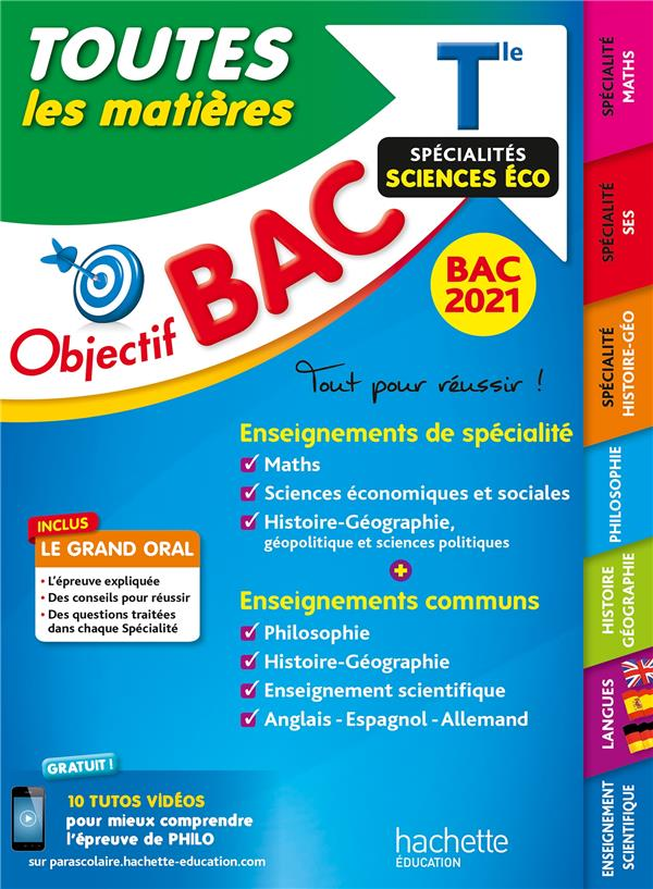 Objectif bac - term enseignements communs + specialites maths - ses - histoire/geographie bac 2021
