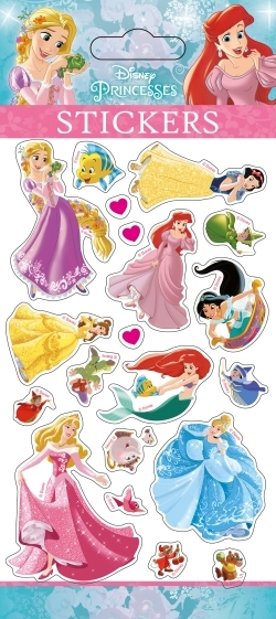 ARIEL, PRINCESSES, STICKER SHEETS GLITTER