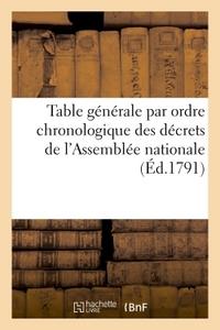 TABLE GENERALE PAR ORDRE CHRONOLOGIQUE DES DECRETS DE L'ASSEMBLEE NATIONALE - ACCEPTES ET SANCTIONNE