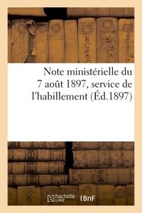 NOTE MINISTERIELLE DU 7 AOUT 1897 PORTANT MODIFICATIONS AUX INSTRUCTIONS DES 16 NOVEMBRE 1887 - 18 M