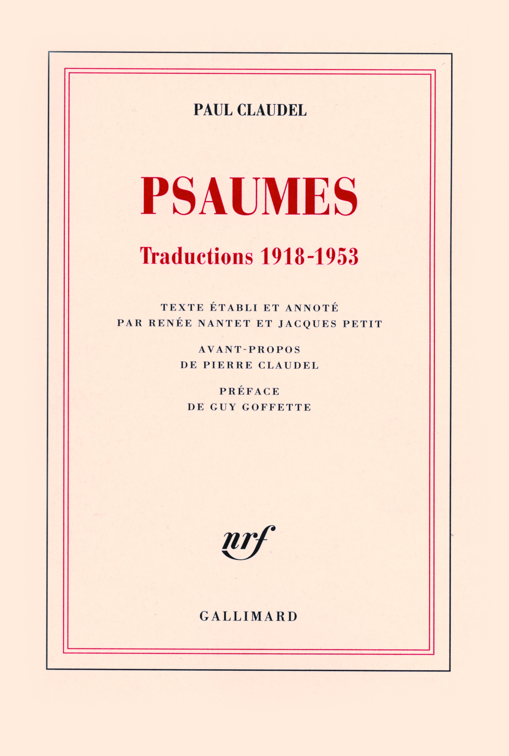 PSAUMES TRADUCTIONS [LATINES], 1918-1953 - TRADUCTIONS 1918-1953