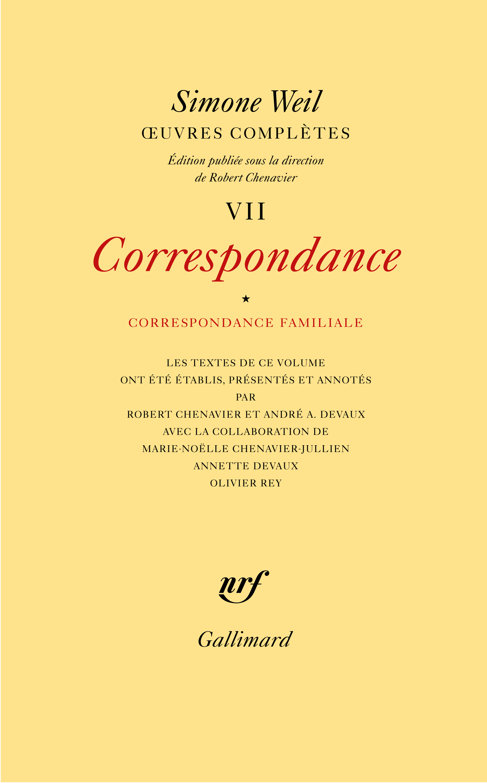 OEUVRES COMPLETES (TOME 7 VOLUME 1)-CORRESPONDANCE)