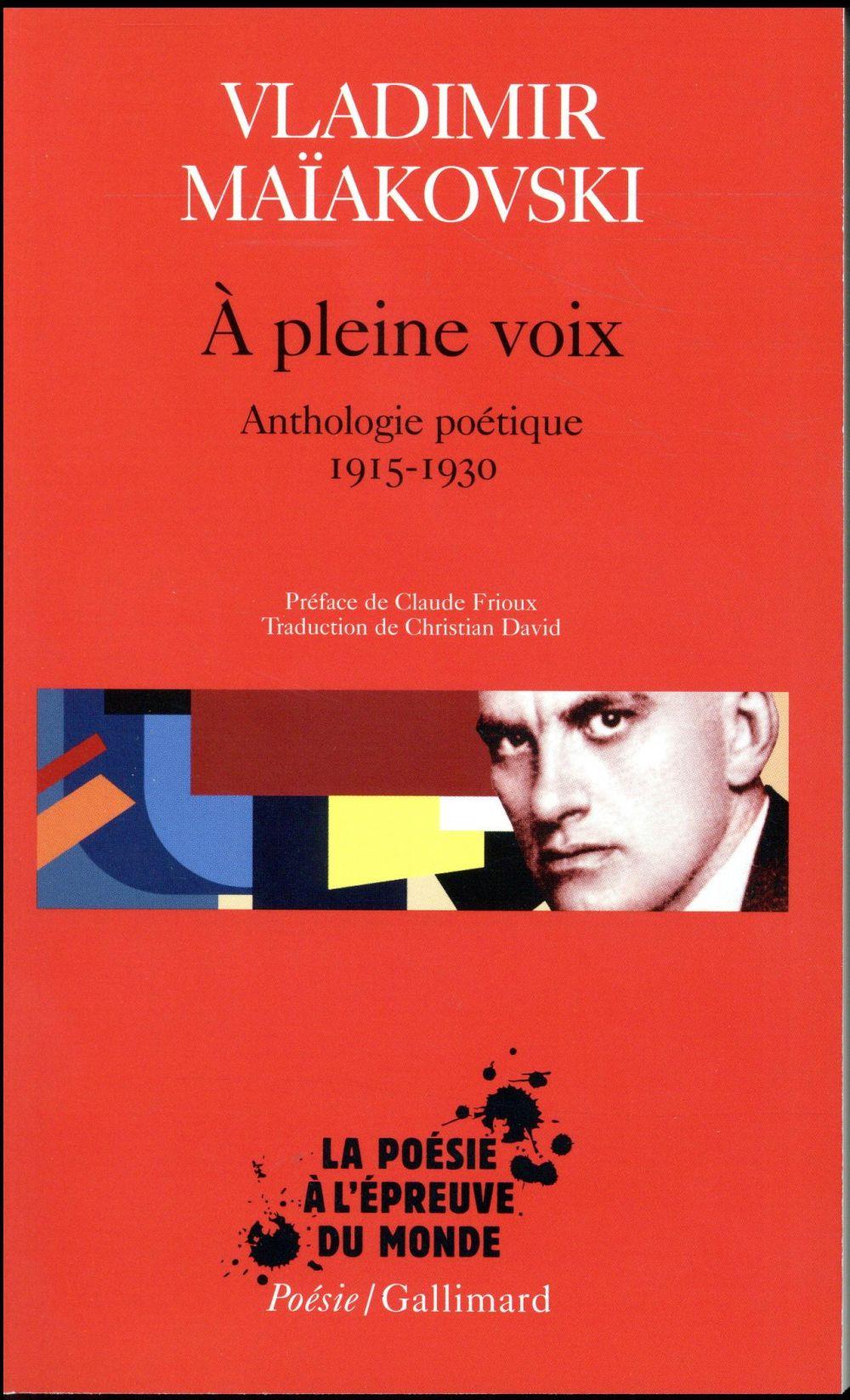 A PLEINE VOIX - ANTHOLOGIE POETIQUE 1915-1930