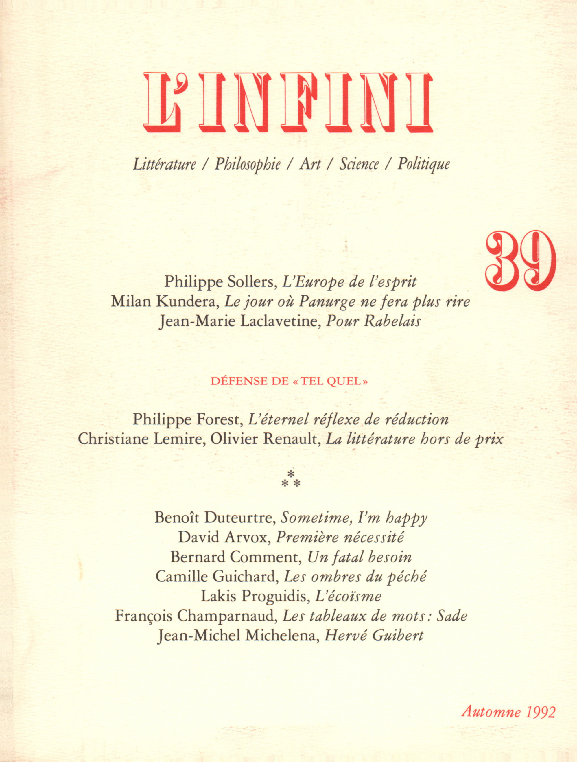 L'INFINI N39