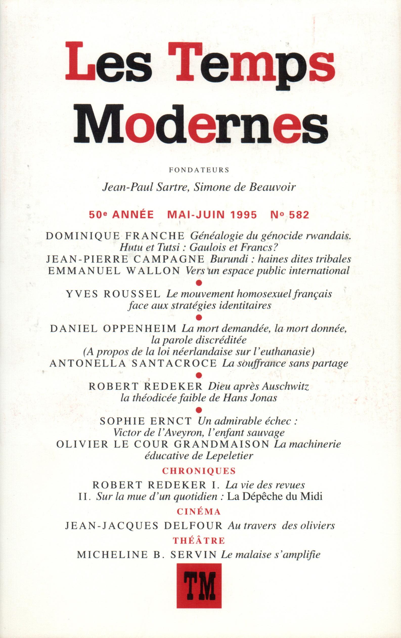 LES TEMPS MODERNES 582  (MAI-JUIN 1995)