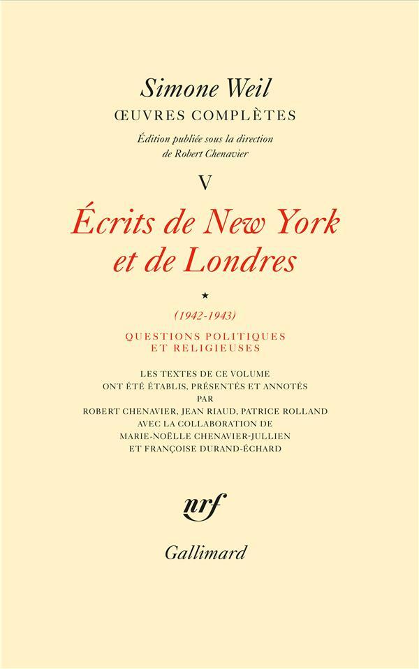 OEUVRES COMPLETES (TOME 5 VOLUME 1)-ECRITS DE NEW YORK ET DE LONDRES (1942-1943))