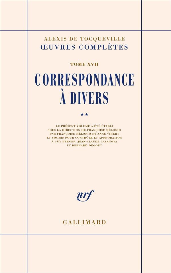 Oeuvres completes - xvii - correspondance a divers - vol02