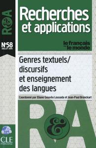 GENRES TEXTUELS/DISCURSIFS ET ENSEIGNEMENT DES LANGUES - RECHERCHES ET APPLICATIONS NUMERO 58