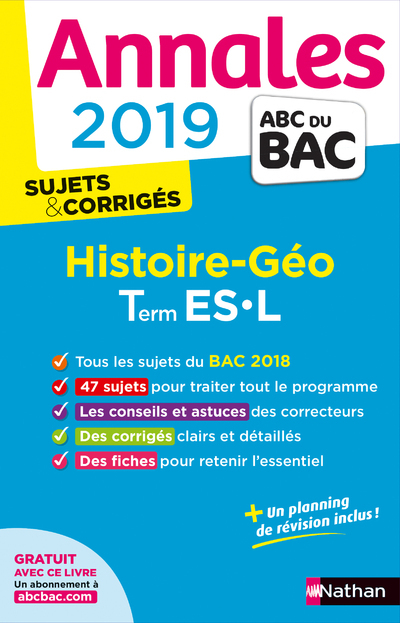 ANNALES BAC 2019 HISTOIRE GEO TERMINALE L-ES - CORRIGE
