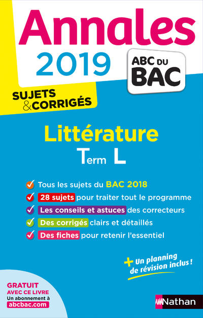 ANNALES BAC 2019 LITTERATURE TERMINALE L CORRIGE