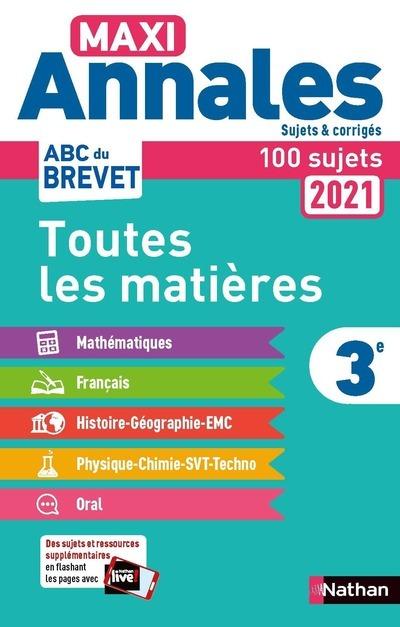 MAXI ANNALES BREVET 3E 2021 - CORRIGE