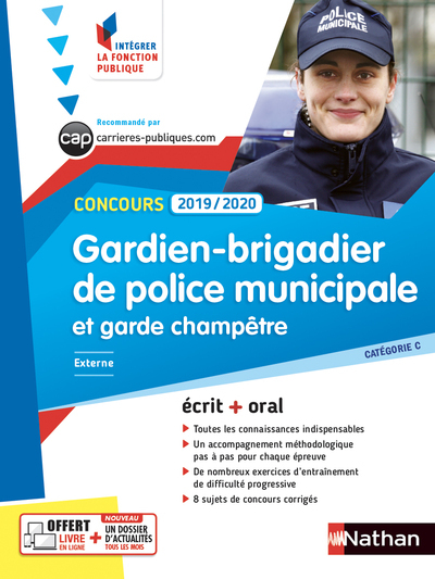 CONCOURS GARDIEN-BRIGADIER DE POLICE MUNICIPALE ET GARDE CHAMPETRE 2019/2020 - CAT C N04 - (IFP)