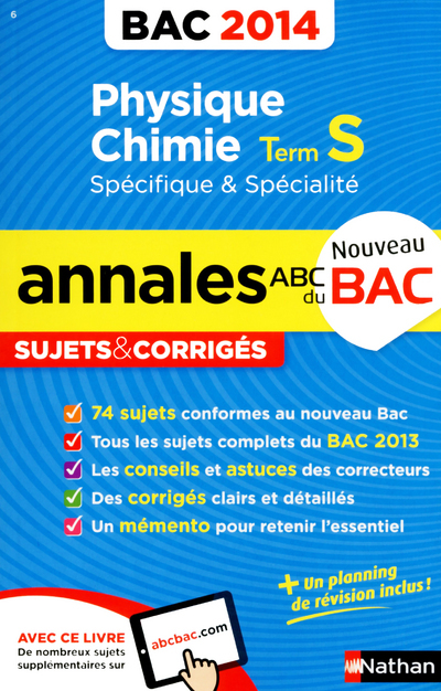 ANNALES BAC 2014 PHYS/CHIMIE TERM S SPECIFIQUE & SPECIALITE SUJETS & CORRIGES N06