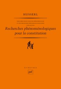 RECHERCHES PHENOMENOLOGIQUES POUR LA CONSTITUTION. LIVRE SECOND - IDEES DIRECTRICES POUR UNE PHENOME