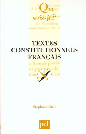 TEXTES CONSTITUTIONNELS FRANCAIS (15EME EDITION)