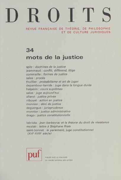 DROITS 2001, N  34 - MOTS DE LA JUSTICE