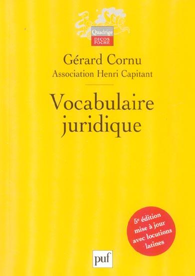 VOCABULAIRE JURIDIQUE (5E ED)