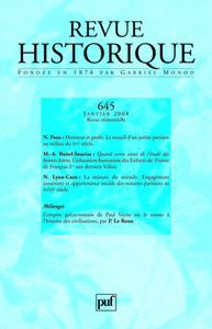 REVUE HISTORIQUE 2008, N  645