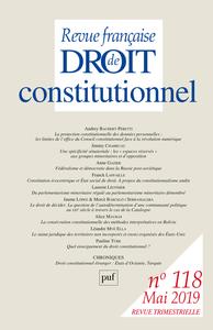 REVUE FRANCAISE DE DROIT CONSTITUTIONNEL 2019-2 - VARIA