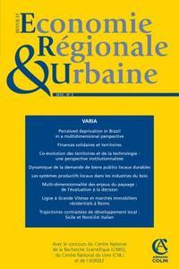 REVUE D'ECONOMIE REGIONALE & URBAINE (2/2010) VARIA