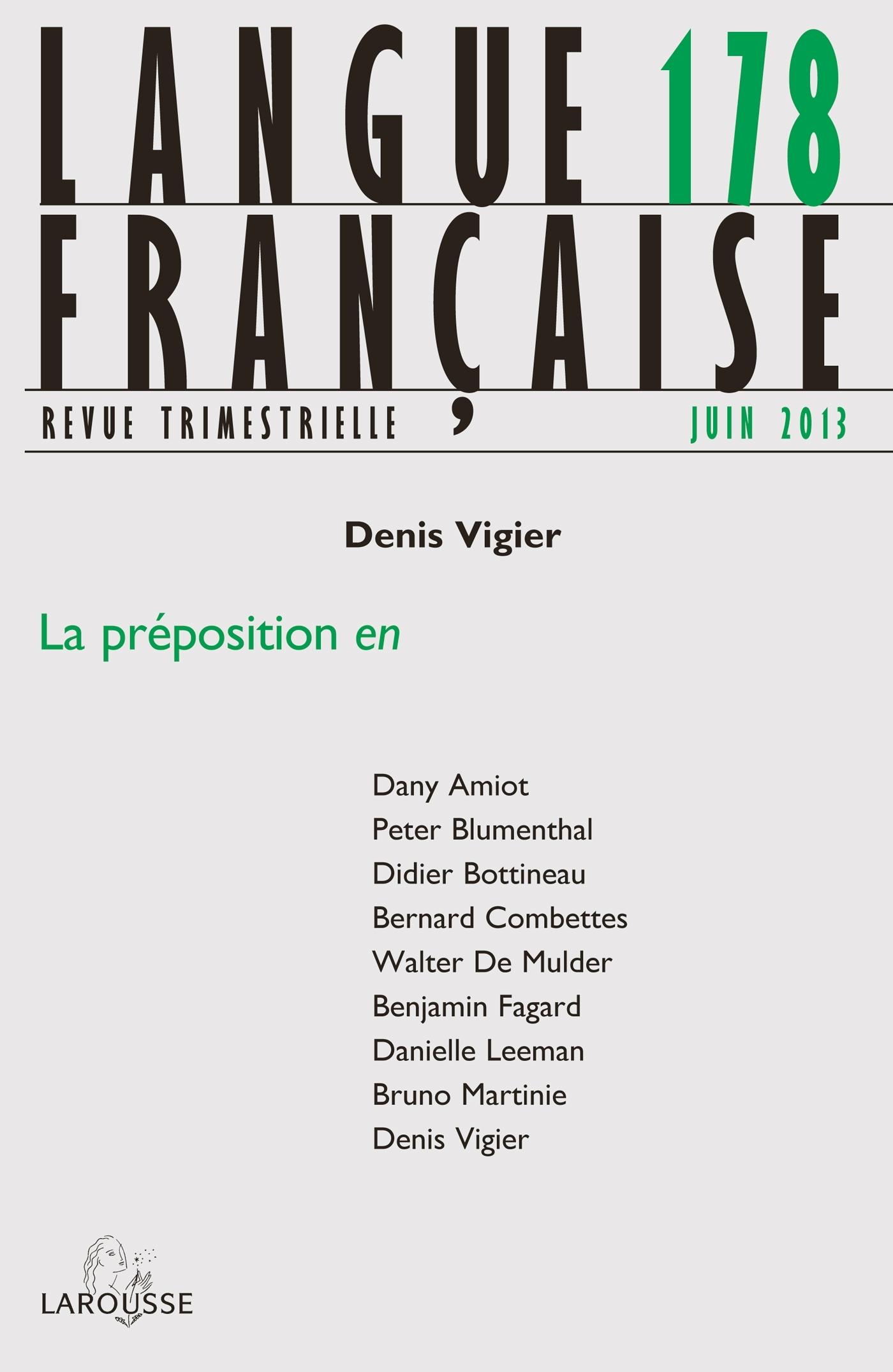 LANGUE FRANCAISE N  178 (2/2013) LA PREPOSITION EN