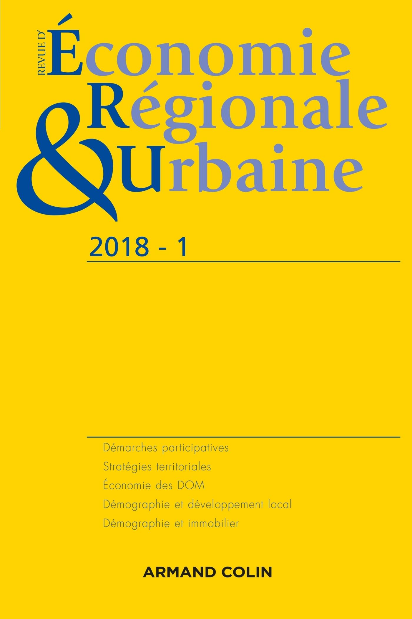 REVUE D'ECONOMIE REGIONALE ET URBAINE N  1/2018 VARIA