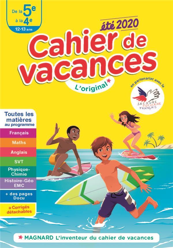 CAHIER DE VACANCES ETE 2020 DE LA 5E A LA 4E 12-13 ANS