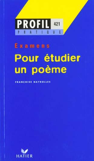 Profil pratique - pour etudier un poeme